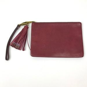 Fossil Wine Red Leather Tassel Pouch Wristlet